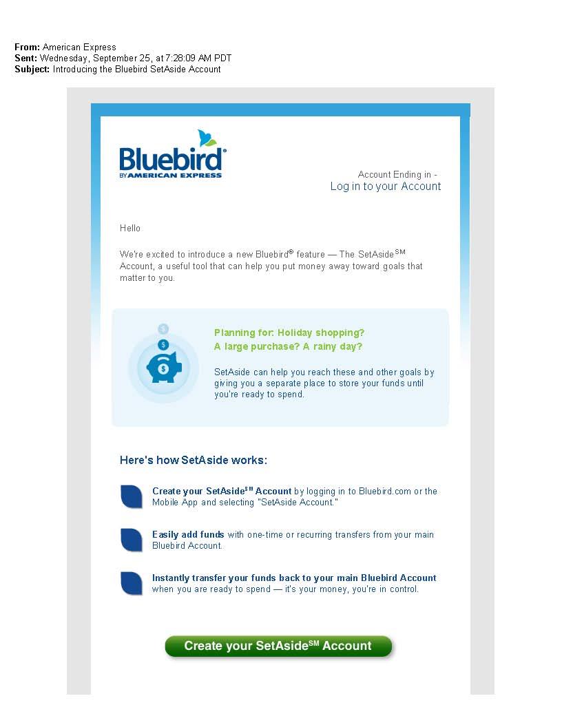 Amex Emailed Setaside Savings Option To Bluebird Account Holders