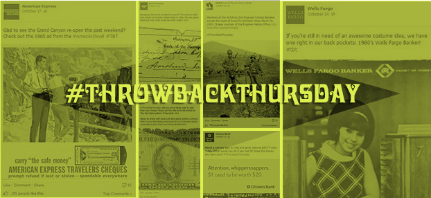 Banks participate in throwback thursday #tbt social media meme
