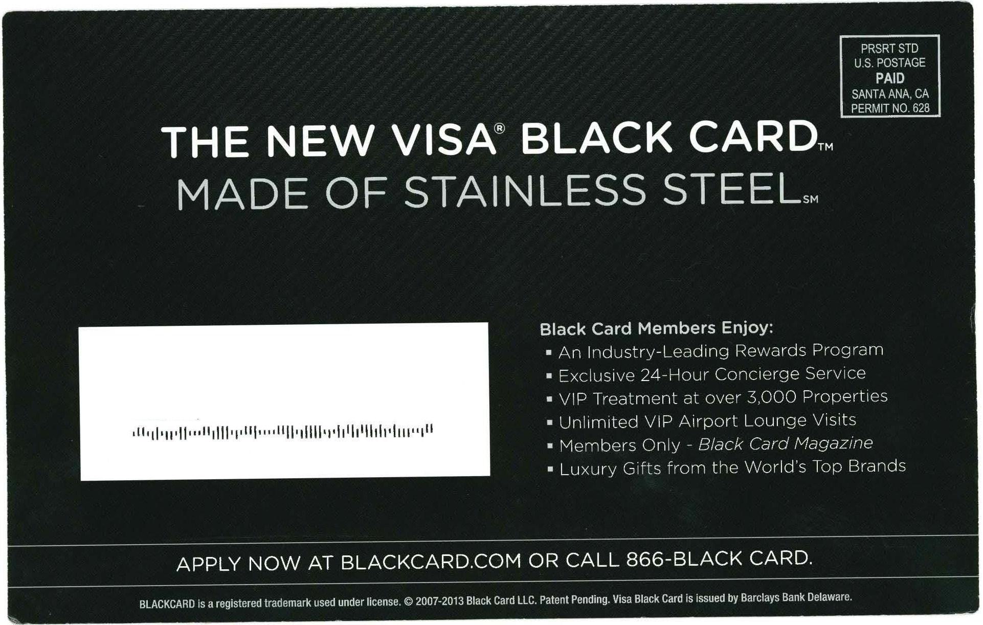 Did barclays marketing effectively reposition its black card direct mail for barclays new visa black card reheart Image collections