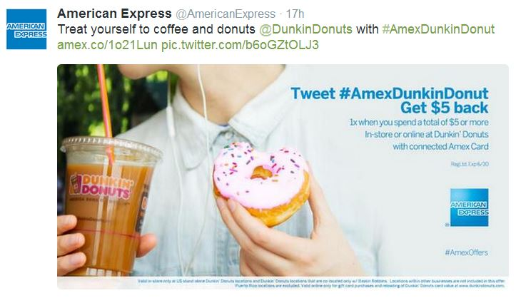 Financial services company American Express uses hashtags in social media marketing