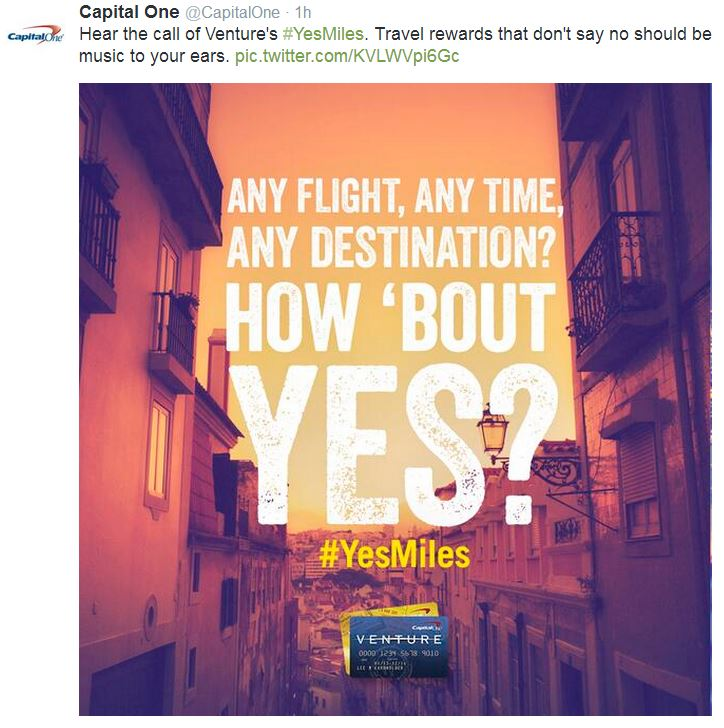 Financial services company Capital One uses hashtags in social media marketing