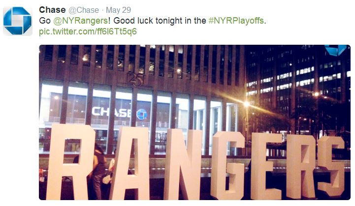 Financial institution Chase uses hashtags in social media marketing