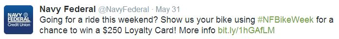 Navy Federal Credit Union uses hashtags in social media marketing