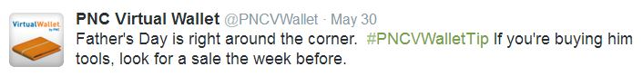 PNC Bank Virtual Wallet uses hashtags in social media marketing
