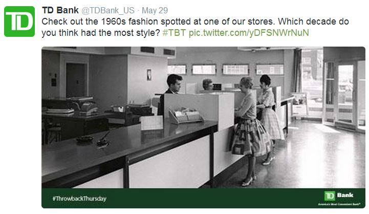 TD Bank uses hashtags in social media marketing