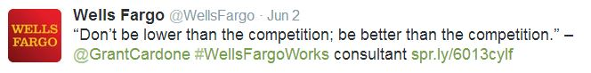 Financial services company Wells Fargo uses hashtags in social media marketing
