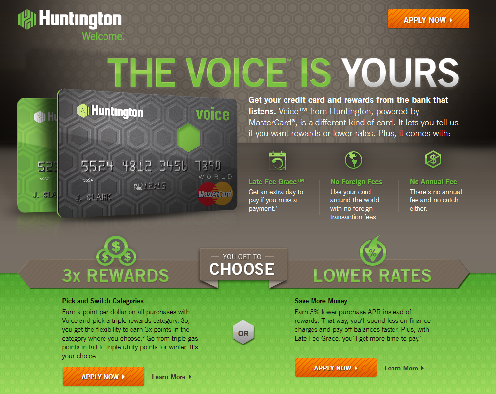 Huntington Voice credit card offers choice of rewards or lower interest rate