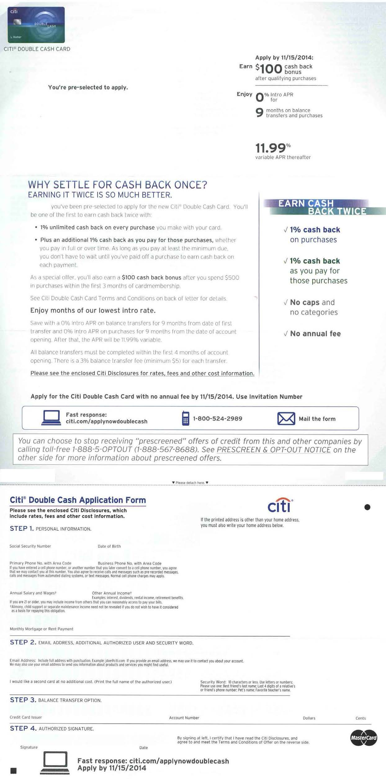 citi double cash back credit card DM 02