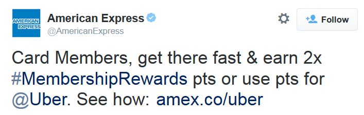 Amex rewards points pay for rides with Uber
