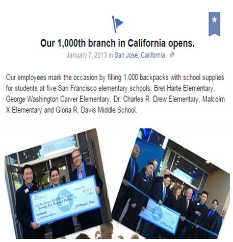 Chase uses Facebook milestone to celebrate 1,000th branch opening