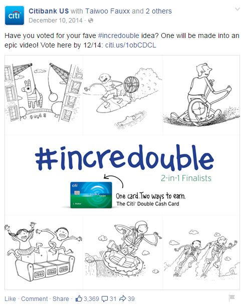 Facebook voting for #incredouble social promotion for Citi Double Cash Card