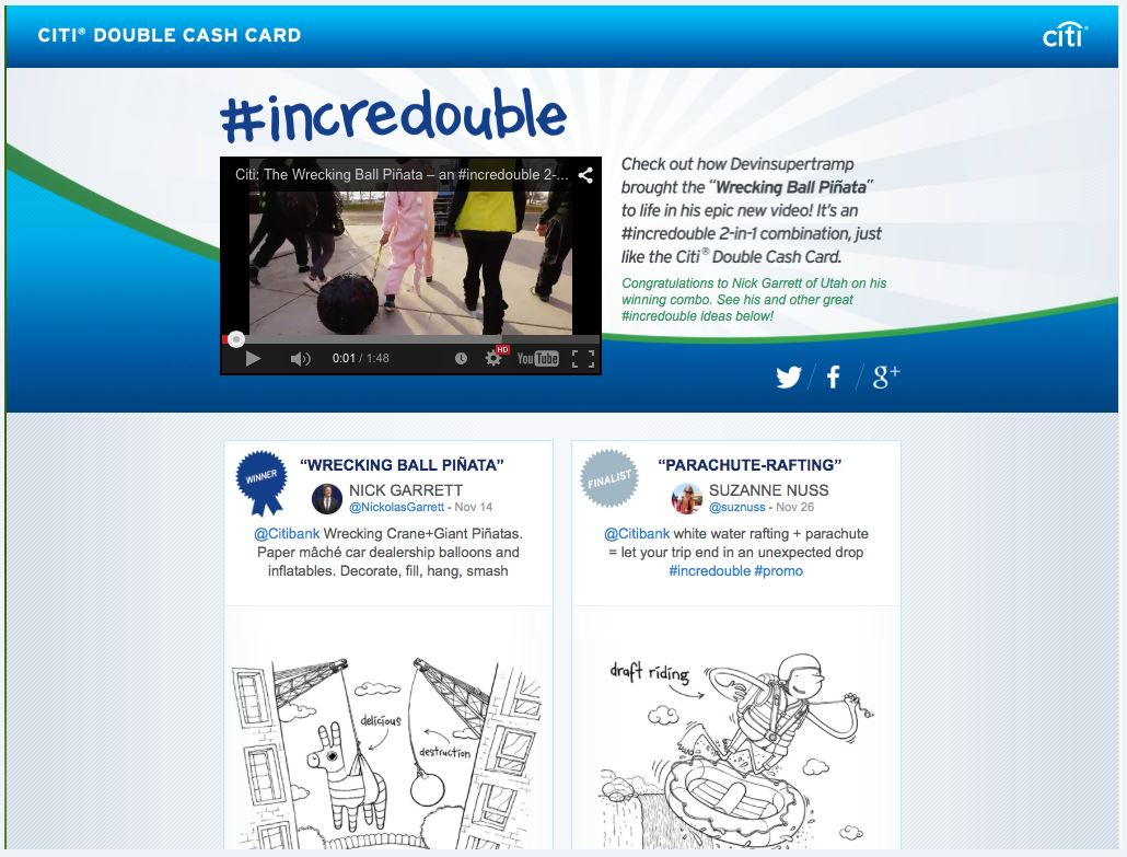 Microsite for #incredouble social promotion for Citi Double Cash Card