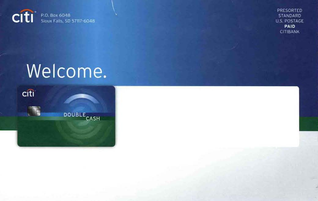 Citi Double Cash Back Welcome Kit OE front