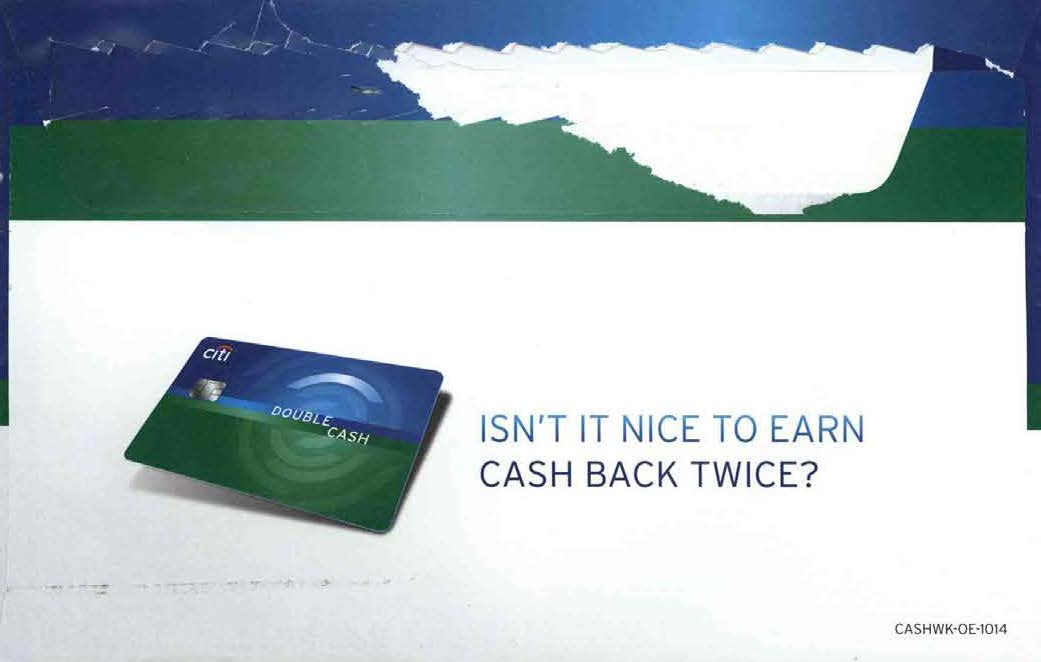 Citi Double Cash Back Welcome Kit OE back