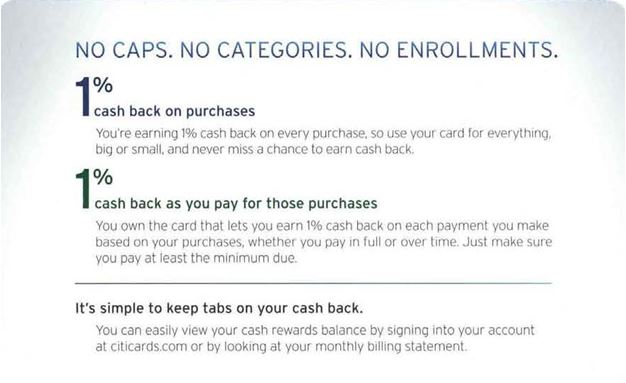 Citi Double Cash Back welcome kit articulates earn without limits