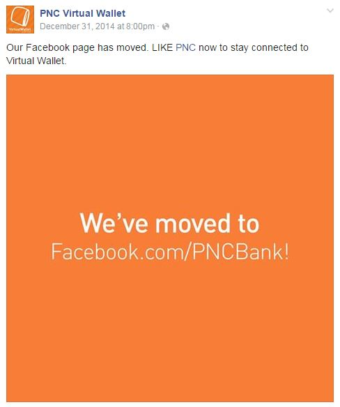 Content marketing trends - PNC merges its Facebook pages