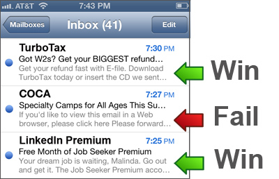 examples of mobile email marketing wins & fails