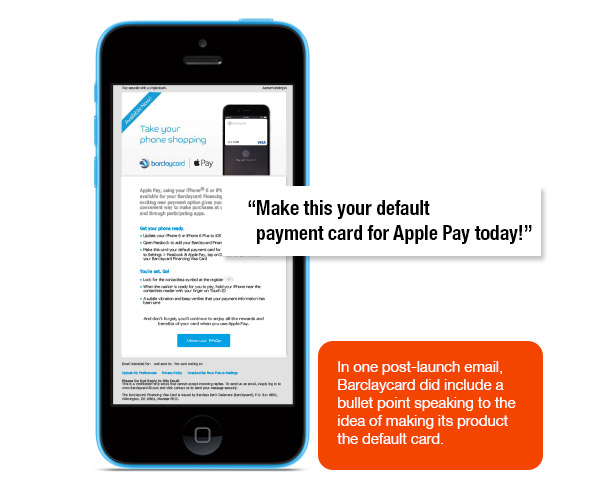 Email urges Barclaycard consumers to make its product the Apple Pay default card