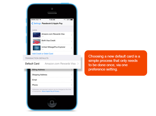 Choosing a default card for Apple Pay is a simple process