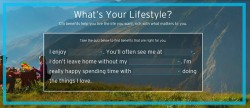 Citi uses a lifestyle quiz to market its credit card and bank services selector