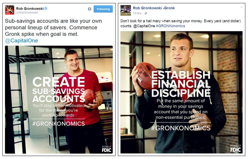 Rob Gronkowski social media marketing for Capital One