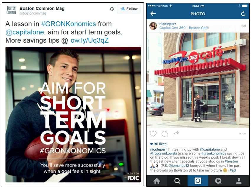 Influencer marketing effort by Capital One for #GRONKonomics