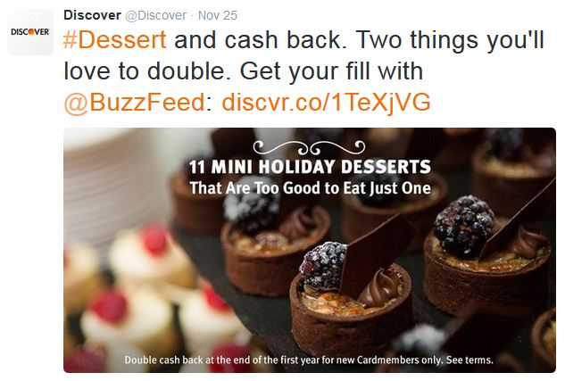 Discover promotes its Buzzfeed listicles via Twitter