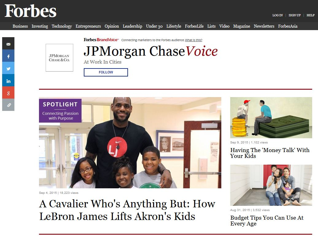 JPMorgan Chase publishes content at a Forbes brand hub