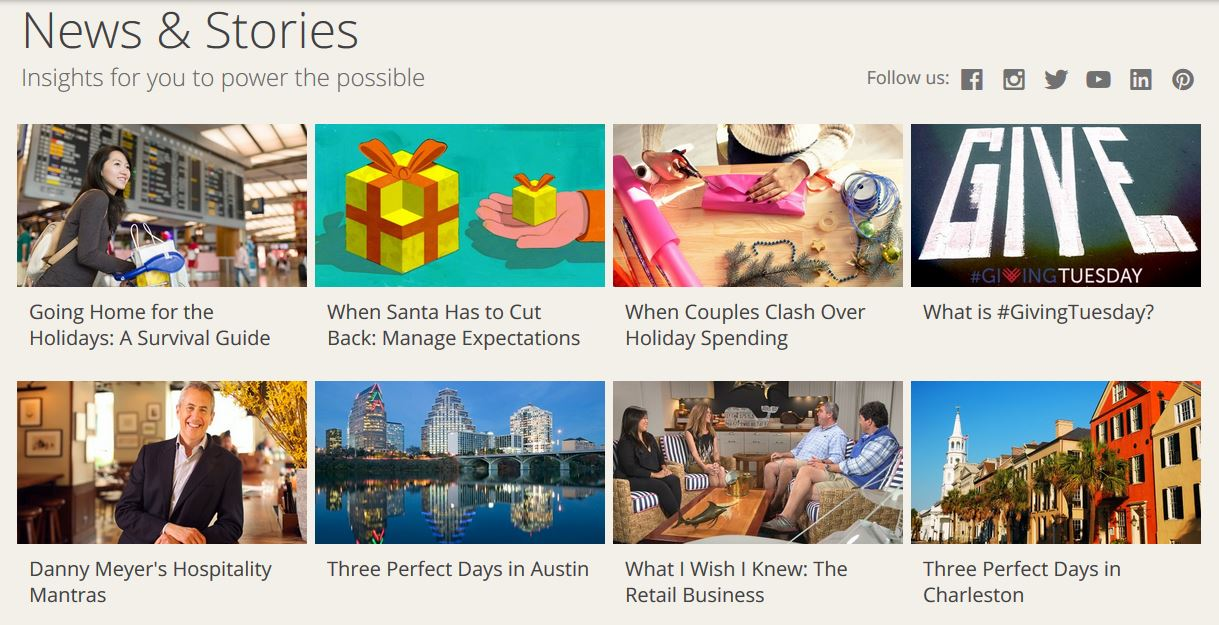 Chase uses news stories on its website to engage customers with content