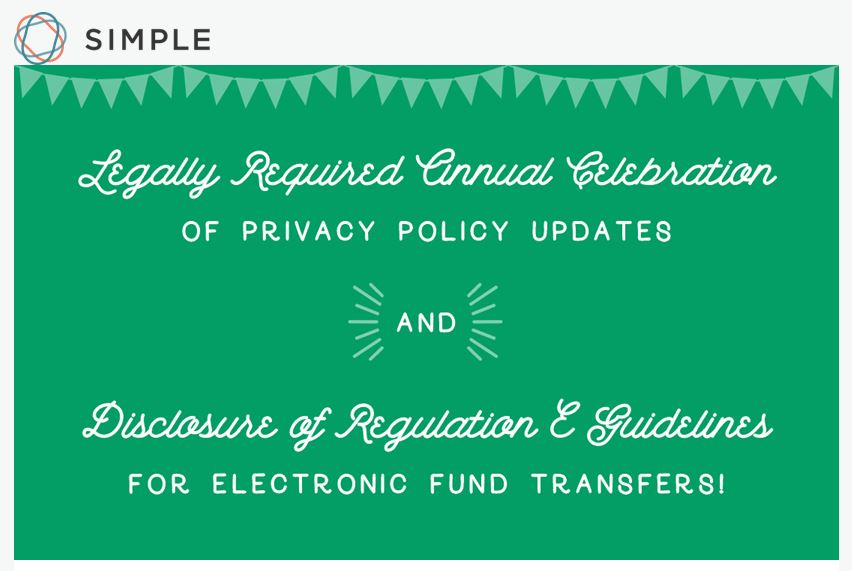 """Simple Banks' """"celebratory"""" privacy policy notification"""