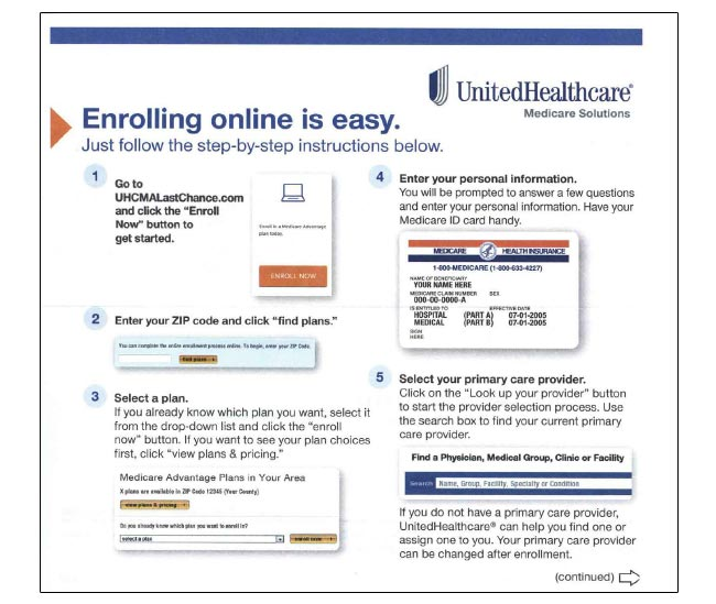 UnitedHealth direct mail package shows easy online enrollment