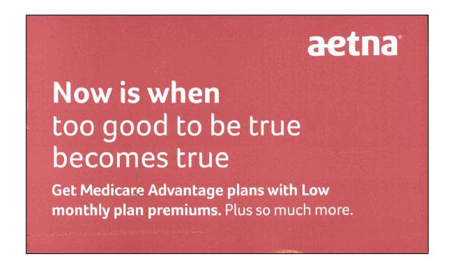 Aetna uses direct language in DM campaign.