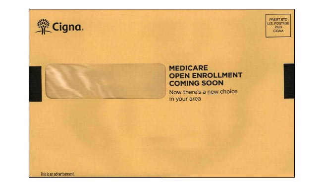 Cigna uses urgent looking OE in direct mail campaign.