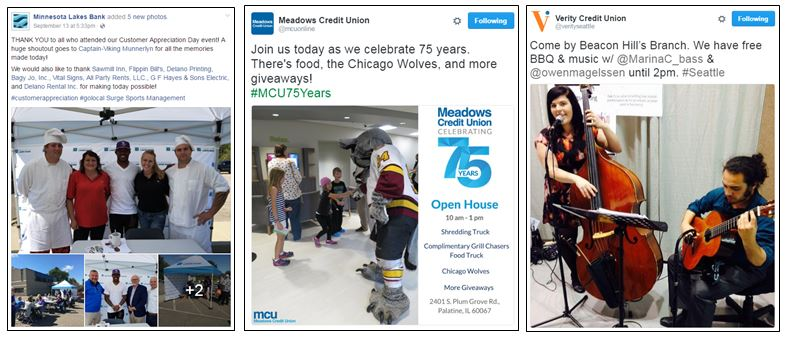 Celebration examples from Minnesota Lakes Bank, Meadows Credit Union and Verity Credit Union