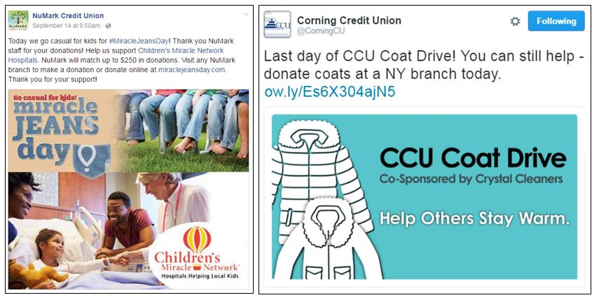 Donations collected by NuMark Credit Union and Corning Credit Union