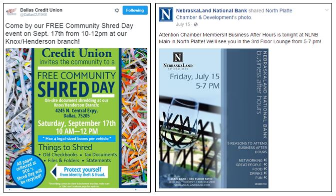 Networking and shredding events by Dallas Credit Union and Nebaskaland National Bank