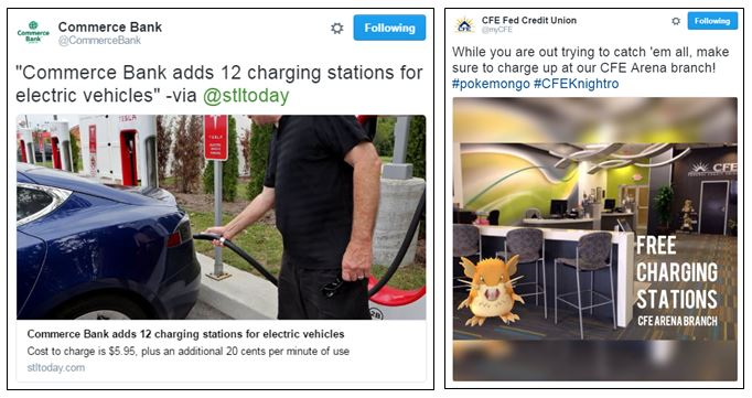 Car - and phone-charging stations from Commerce Bank and CFE Federal Credit Union