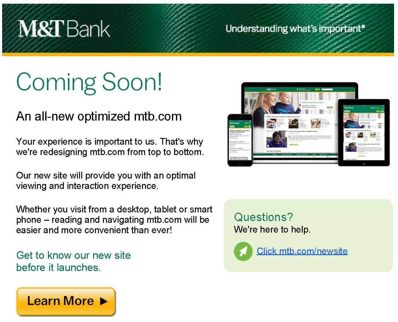 Bank email to customers promote new online experience