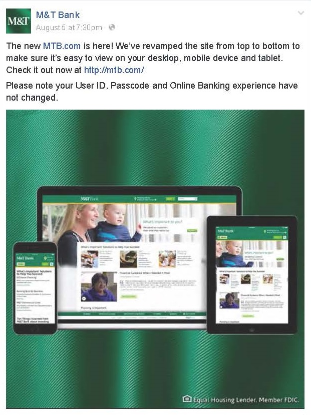 Bank Facebook post promotes re-launch of website