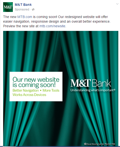 M&T Facebook post prepares customers for new web experience