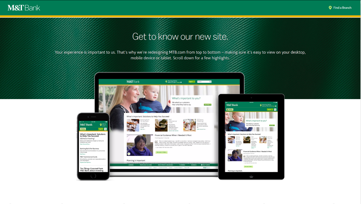 M&T Bank landing page explains how responsive design enhances customer experience