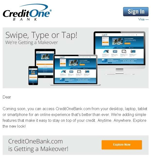 CreditOne Bank customer email announcing website relaunch