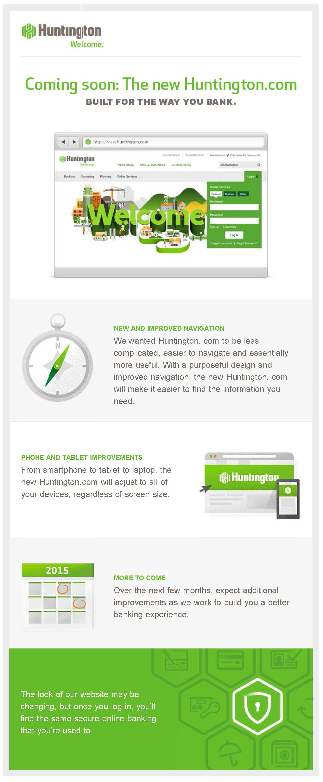 Huntington Bank customer email describing new web experience