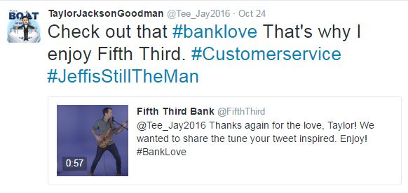 Fifth Third Bank customer enjoys song created from feedback