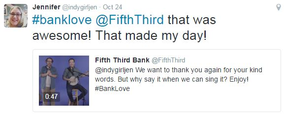 Fifth Third Bank song makes customer's day