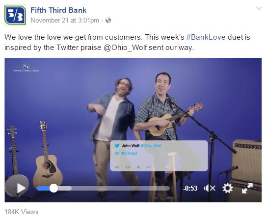 Fifth Third Bank shares customer feedback song video on Facebook