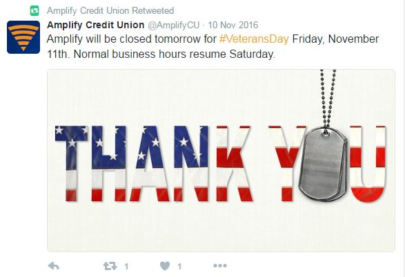 Credit Union retweets branch closure message for greater visibility