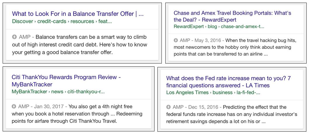 AMP in organic search results for financial services topics