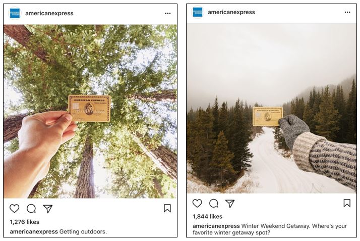 American Express photography matches Instagram aesthetic