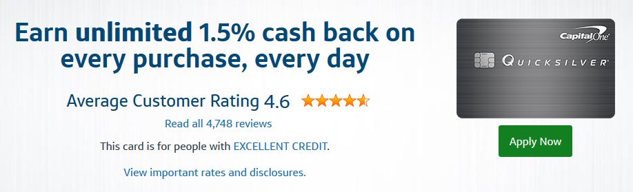 Review of cashback card marketing for Capital One Quicksilver